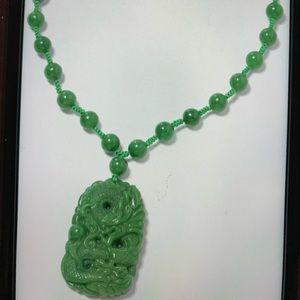 553.50 ctw Burmese Green Jade Dragon Necklace